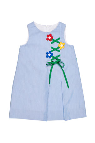 Florence Eiseman Girl's Sleeveless Cord Dress with Flower Trellis, Size 2-4