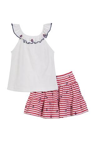 Florence Eiseman Girl's Ruffle Neck Top w/ Stripe Tiered Ruffle Skort, Size 2-6X