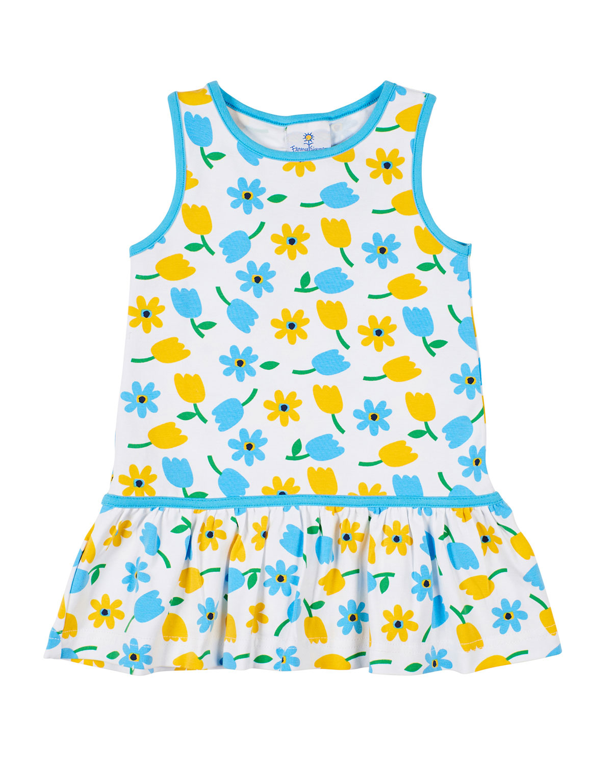 Florence Eiseman Tulip-Print Sleeveless Dress, Size 2-6X