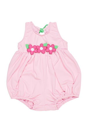 Florence Eiseman Bubble Bottom Swimsuit w/ Flowers, Size 6-24 Months