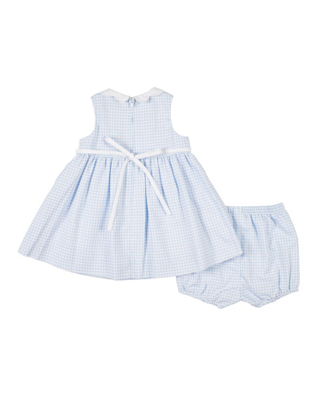 Image 2 of 2: Check Pique Dress w/ Matching Bloomers, Size 12-24 Months