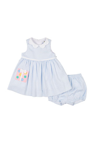 Florence Eiseman Check Pique Dress w/ Matching Bloomers, Size 12-24 Months