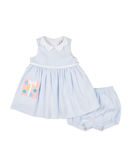 Image 1 of 2: Check Pique Dress w/ Matching Bloomers, Size 12-24 Months