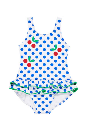 Florence Eiseman Polka-Dot Double-Skirt One-Piece Swimsuit, Size 2-6X