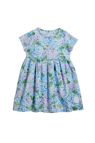 Smiling Button Girl's Sunday Hydrangea Print Short-Sleeve Dress, Size 0-10