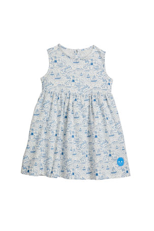 Smiling Button Girl's Pinny By The Sea Sleeveless Dress, Size 0-10