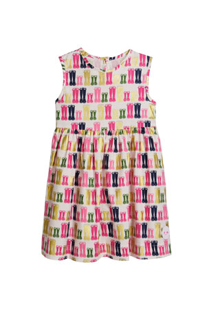 Smiling Button Girl's Pinny Puddle Jumping Sleeveless Dress, Size 0-10