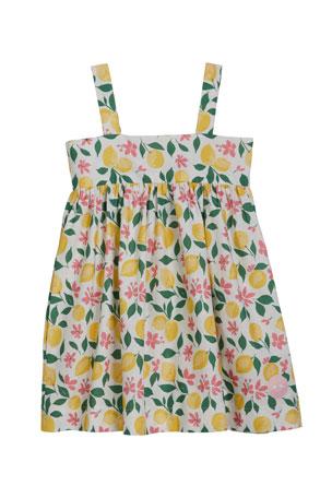 Smiling Button Girl's Lemonade Print Swing Dress, Size 18M-10