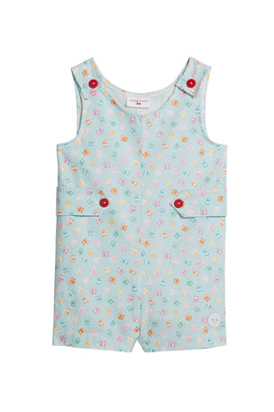 Smiling Button Boy's Presents Print Overall, Size 0-4