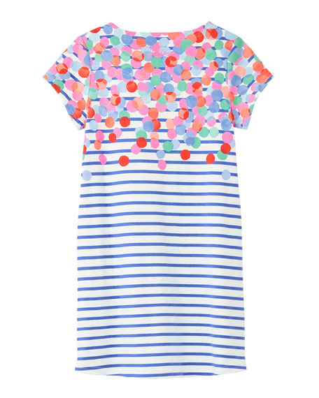 Image 3 of 3: Joules Girl's Riviera Spotted Stripe Dress, Size 4-10