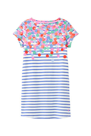 Joules Girl's Riviera Spotted Stripe Dress, Size 4-10
