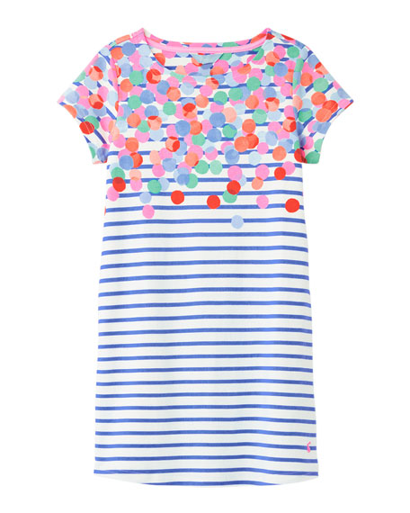 Image 1 of 3: Joules Girl's Riviera Spotted Stripe Dress, Size 4-10
