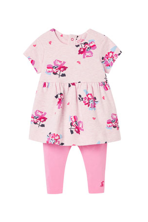 Joules Girl's Christina Floral-Print Dress w/ Solid Leggings, Size 3-24 Months
