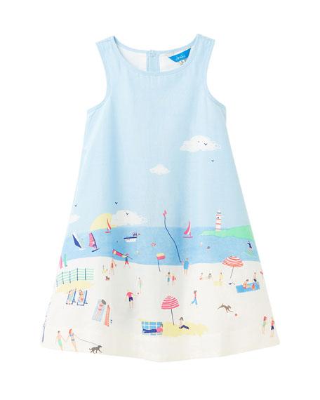 Joules Girl's Bunty Beach Border Dress, Size 3-6