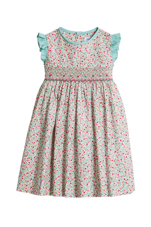 Luli & Me Girl's Green Floral-Print Smock Dress, Size 4T-3