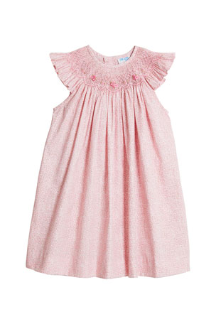 Luli & Me Girl's Pink Floral-Print Smocked Dress, Size 4T-3