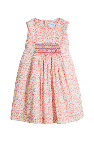 Luli & Me Girl's Coral Floral-Print Smocked Dress, Size 4T-3
