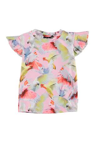Molo Girl's Neona Bird Print Frill-Sleeve Rash Guard, Size 3T-12