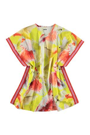 Molo Girl's Corliss Bird's Print Kaftan Sun Dress, Size S-L