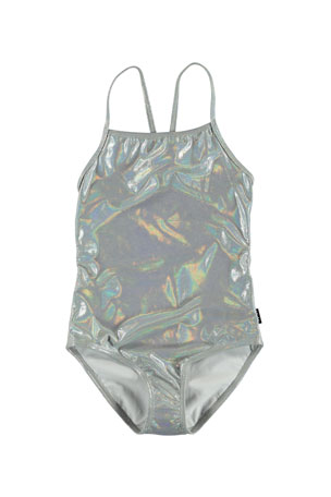 Molo Girl's Neda Silver Holographic One-Piece Swimsuit, Size 5-12