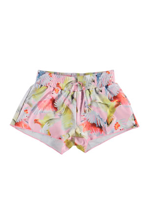 Molo Girl's Nicci Birds Print Drawstring Swim Shorts, Size 3T-12