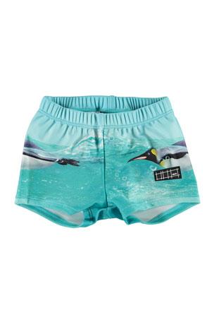 Molo Boy's Nansen Starfish Print Swim Shorts, Size Newborn-3T