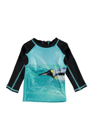 Molo Boy's Nemo Penguin Print Long-Sleeve Rash Guard, Size 3M-3