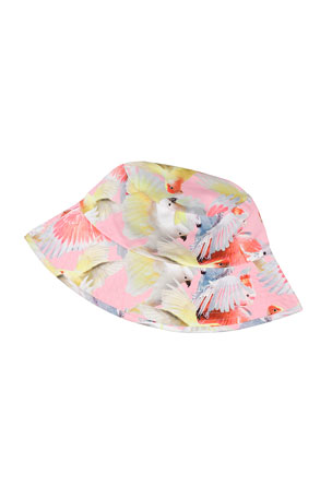 Molo Girl's Nadia Birds Print Sun Bucket Hat, Size S-L