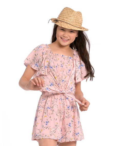 Image 2 of 3: Hannah Banana Girl's Floral-Print Tie-Front Romper, Size 7-14