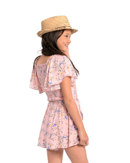 Image 3 of 3: Hannah Banana Girl's Floral-Print Tie-Front Romper, Size 7-14