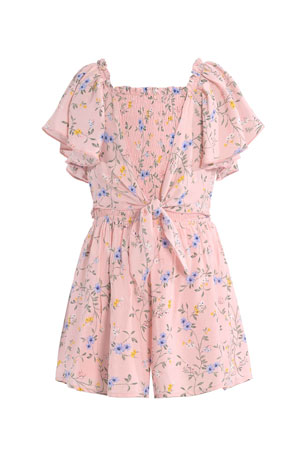 Hannah Banana Girl's Floral-Print Tie-Front Romper, Size 7-14