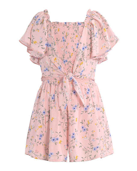 Image 1 of 3: Hannah Banana Girl's Floral-Print Tie-Front Romper, Size 7-14