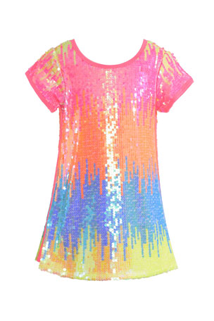 Hannah Banana Girl's Allover Sequin Rainbow Dress, Size 7-14