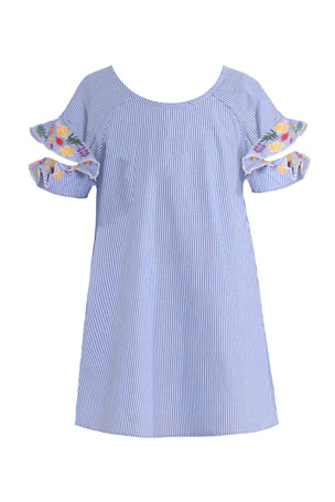 Hannah Banana Girl's Embroidered Ruffle Sleeve Stripe Dress, Size 7-14