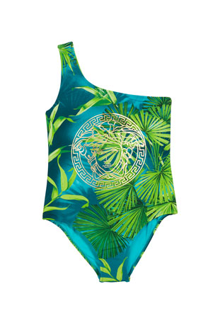 Versace Girl's One-Shoulder Jungle Print One-Piece Swimsuit, Size 8-14