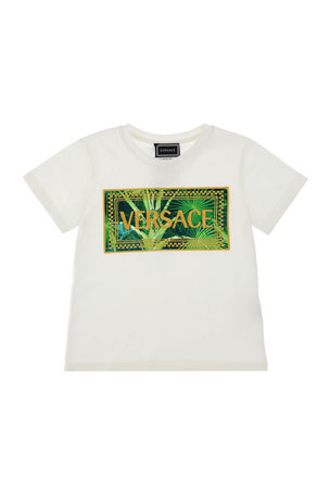Versace Jungle-Print Graphic Tee, Size 8-14