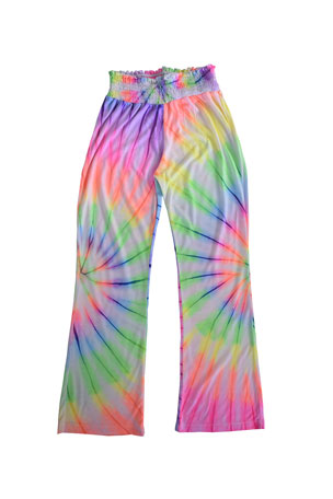 Flowers by Zoe Girl's Neon Tie Dye Smock Waist Pants, Size S-XL