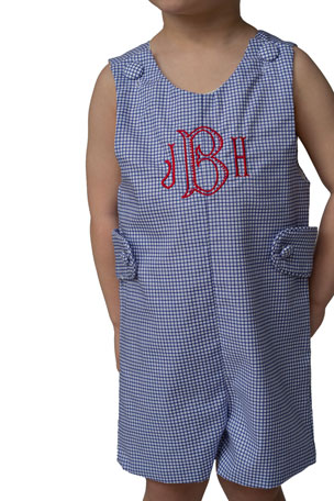 Brown Bowen and Company Windowpane JJ - Monogram Option, Size 3 Months-3T