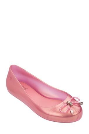 Mini Melissa Mel Sweet Love IV Metallic Ballerina Flat, Baby/Kid