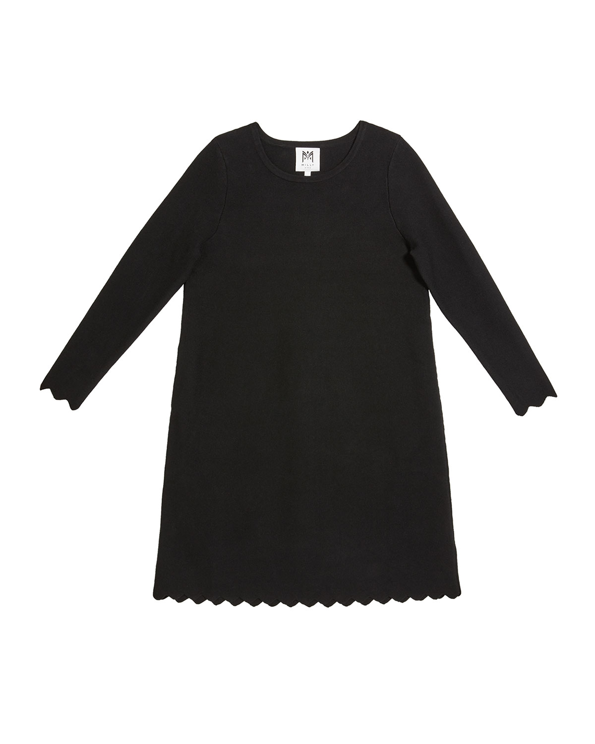 Milly Minis Girl's Scalloped A-Line Long-Sleeve Knit Dress, Size 7-16