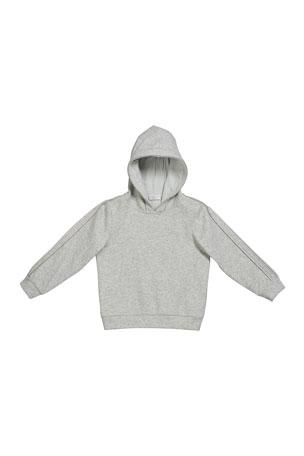 Brunello Cucinelli Girl's Cashmere Hoodie Sweatshirt w/ Monili Trim, Size 4-6