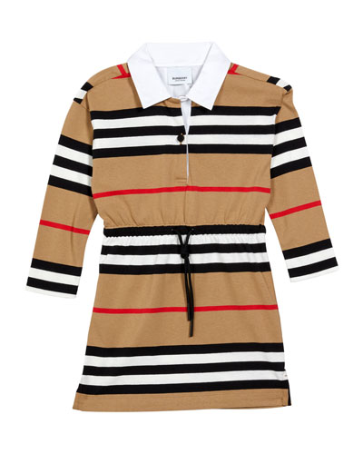 Burberry Girl's Cuthberta Drawstring Icon Stripe Shirt Dress, Size 3-14