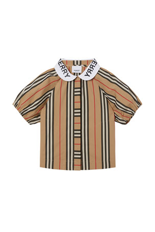 Burberry Girl's Cecily Icon Stripe Shirt, Size 3-14