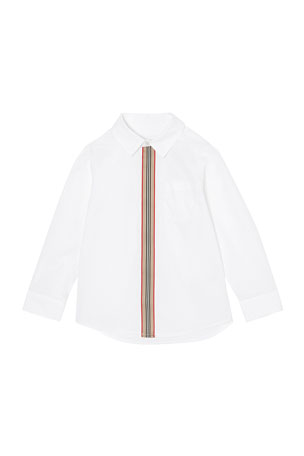 Burberry Boy's Silverton Zip-Front Long-Sleeve Shirt, Size 3-14