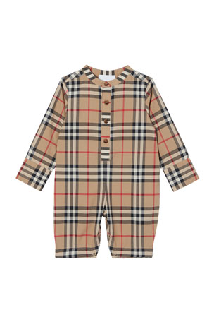 Burberry Pierre Icon Stripe Coverall, Size 1-18 Months