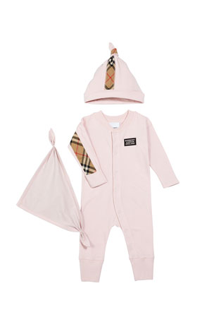 Burberry Core Check 3-Piece Layette Set, Size 1-6 Months