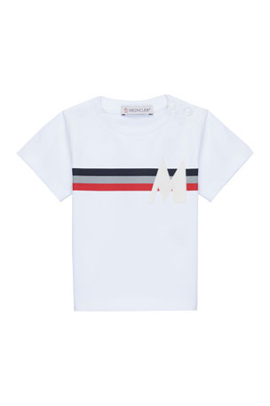 Moncler Flag-Stripe T-Shirt with Flocked M, Size 12 Months-3