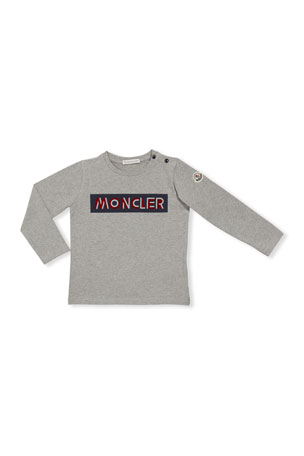 Moncler Block Logo Long-Sleeve T-Shirt, Size 12M-3