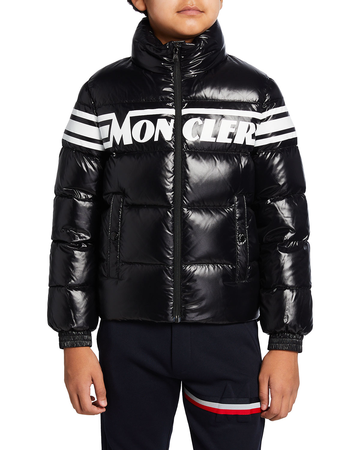 Moncler Saise Quilted Hooded Puffer Jacket, Size 8-14