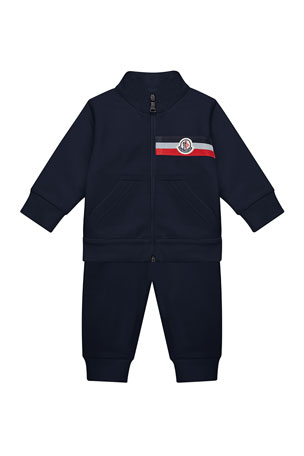 Moncler Boy's Two-Piece Jogging Set w/ Logo Chest Patch, Size 12M-3